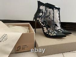 $1,674 Nw 100% Auth Francesco Russo floral embroidered transparent booties Sz 39