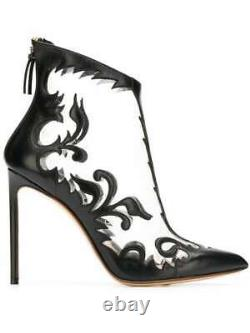 $1,674 Nw 100% Auth Francesco Russo floral embroidered transparent booties Sz 40