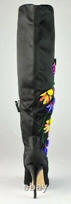 $2,295 NEW Giuseppe Zanotti Floral-Embroidered Peep-Toe Satin Knee High Boots 6