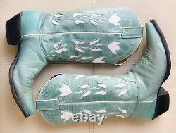 $400 Vtg Justin Boots Turquoise Blue Floral Cowboy Women 8 B Western Cowgirl
