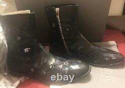 ALEXANDER MCQUEEN Mens Floral Embroidered Black Leather Ankle Boots EU 42 US 9