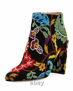 AUTHENTIC Stuart Weitzman Floral Embroidered 90mm Booties 35.5 5.5 NWB