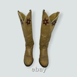 Acme Womens Cowgirl Boots Tan Brown Floral Almond Toe Pull On Vintage 9.5