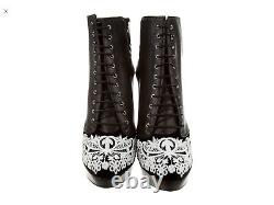 Alexander McQueen Black Leather Embroidered Lace Platform Ankle Boots. Sz 7. 37