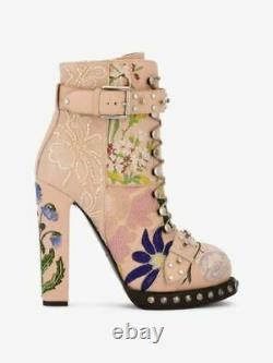 Alexander McQueen Floral Embroidered Heeled Ankle Boots EU 37 UK 4 New Box
