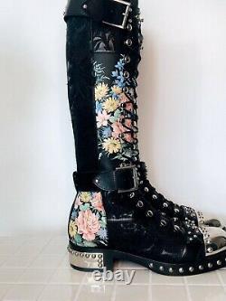 Alexander Mcqueen Knee High Embroidered Boots 38.5eu 7.5us