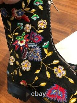 Alice + Olivia Gloria Tapestry Embroidery Boots Sz 40 US 10