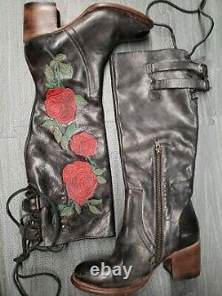 As is Sz. 8 Freebird Fb-Cyrus Rose Floral Embroidered Black Leather Boots Heeled