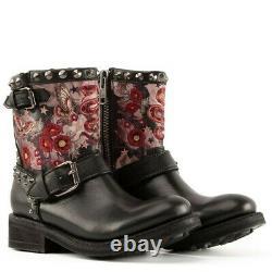 Ash Triana Black Embroidered Black Leather Biker Boots. Size UK5EU38 CLEARANCE