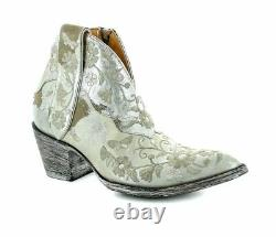BL3186-2 OLD GRINGO Cate Winter White Metallic Sand Floral Shortie Boots