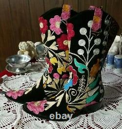 BOHO Embroidered Black Suede Pointed Toe Cowgirl Boots ISTANBOOTS TURKEY Vintage
