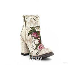 Bl3184-3 Old Gringo Carla Crackled Milk Floral Ankle Boots