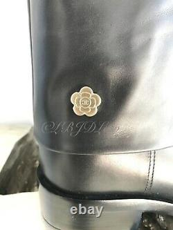 CHANEL 16A Floral Tall Boots Embroidered CC Logo Shoes Heels 39.5 8.5/9