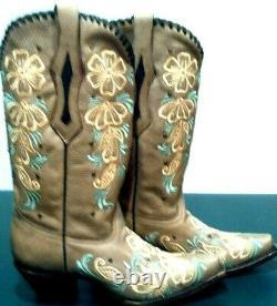 CORRAL Women's Embroidered Flowers on Distressed Tan Leather Boots- Nwithob Sz 7.5