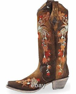 CORRAL Women's Floral Embroidered Lamb Leather Cowgirl Boot Snip Toe A3579