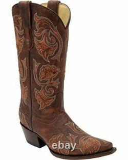 CORRAL Women's Floral Full Stitch Snip Toe Cowgirl Boots G1122