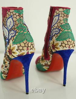 Christian Louboutin Miss Tennis Mesh Embroidered Lace Ankle Boot SZ 37 NIB $1195