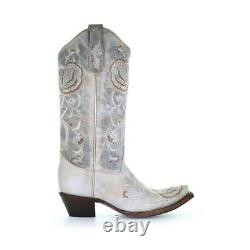 Circle G by Corral Ladies Aqua Floral Embroidery Snip Toe Boots L5711