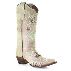 Circle G by Corral Ladies Sand & Flower Embroidery Boots L5659