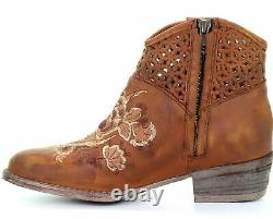 Circle G by Corral Women's Brown Embroidered Ankle Boots Q0128