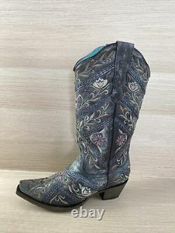Corral Black Leather Floral Embroidered/Studded Snip Toe Western Boots Women 7.5