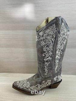 Corral Bone Embroidery Leather Snip Toe Pull On Cowgirl Boots Womens Size 7 M