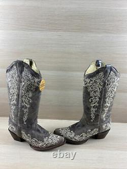 Corral Bone Embroidery Leather Snip Toe Pull On Western Boots Womens Size 8.5 M