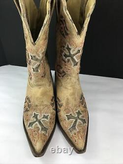 Corral Boots R2460 Antique Saddle Brown with Roses and Crosses Authentic Size 8