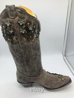 Corral Flora Floral Overlay Embroidered Stud Appliqué Crystals 9.5 Brown Leather