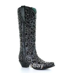 Corral Ladies Black Full Inlay & Studs Tall Top Boots A3589