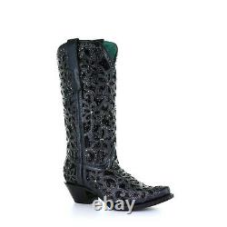 Corral Ladies Black Inlay Embroidery & Studs Boots A3752