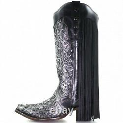 Corral Ladies Black & Silver Brushed Floral Embroidery Boots with Fringes C3672