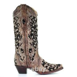 Corral Ladies Brown Floral Embroidery & Black Sequin Inlay Boots A3569