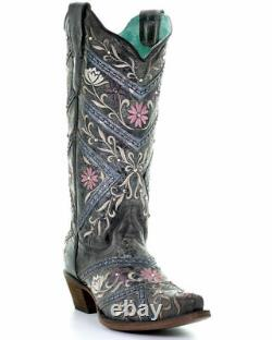 Corral Ladies Floral Embroidery, Studs & Crystal Boots E1482