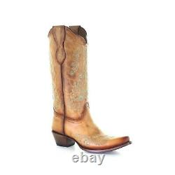 Corral Ladies Straw Embroidery Brown Snip Toe Boots L2003