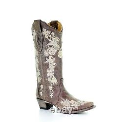 Corral Ladies Tobacco Studs and Flowered Embroidery with Crystals Boots A3572