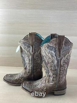 Corral Studded/Crystal Floral Leather Square Toe Western Boots Womens 7 M