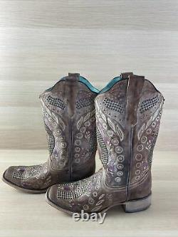 Corral Studded/Crystal Floral Leather Square Toe Western Boots Womens 9 M