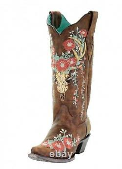 Corral Tan Deer Skull Overlay and Floral Embroidered Boots A3652