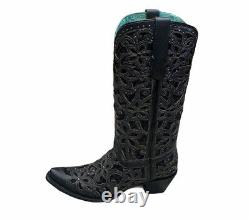Corral Women's Black Embroidered Inlay Snip Toe Boots Size 9.5