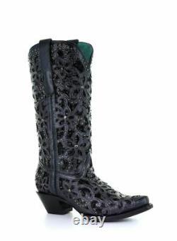 Corral Women's Black Glitter Inlay Snip Toe Boots A3752