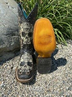 Corral Women's Black/White Floral Skull Embroidery Studs Square Toe Boots Z5005
