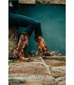 Corral Women's Boots Lindsey Cowgirl Cowboy Brown A3597 Embroidered Sz 6.5 8 NIB