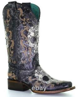 Corral Women's Floral Skull Embroidery And Studs Western Boot Square Toe