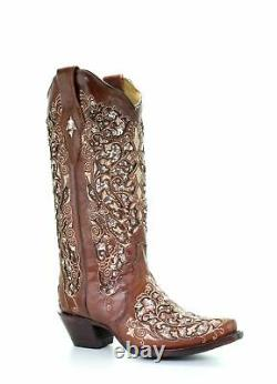 Corral Women's Glitter Inlay & Floral Embroidered Snip Toe Boots A3671