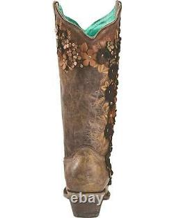 Corral Women's Tobacco Floral Overlay Embroidered Stud And Crystals Cowgirl Boot