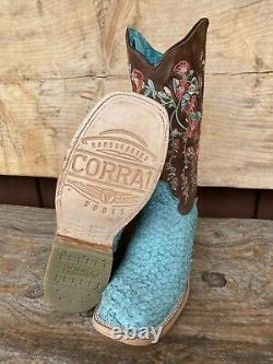 Corral Women's Turquoise/Brown Fish Embroidery Square Toe Western Boots A4061