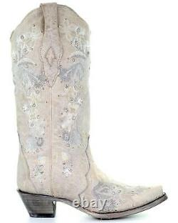 Corral Women's White Floral Embroidered Western Boot Snip Toe A3521
