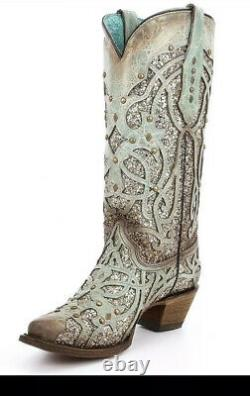 Corral Womens Luminary Glitter Inlay Stud Snip Leather Cowgirl Boots Turquoise 7