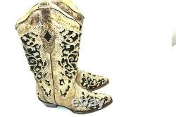 Corral women's 6.5 M Brown Floral Embroidery & Black Sequin Inlay Boots A3569
